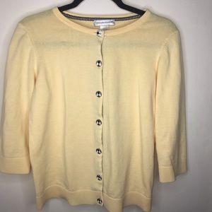 Christopher & Banks Yellow 3/4 Crop Sleeve Sweater